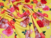 Floral Print Scuba Stretch Jersey Dress Fabric  Pink & Yellow