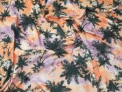Tropical Palm Tree Print Stretch Viscose Jersey Knit Dress Fabric  Multicoloured