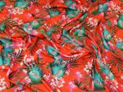 Tropical Print Stretch Viscose Jersey Knit Dress Fabric  Orange & Jade