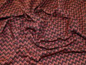Jacquard Zig Zag Double Stretch Jersey Knit Dress Fabric  Rust & Black