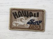 Hawaii Surf Embroidered Iron On Motif Applique  Beige