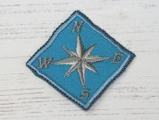Compass Embroidered Iron On Motif Applique  Turquoise