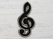 Sequin Musical Note Embroidered Iron On Motif Applique  Black & Silver