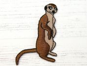 Meercat Embroidered Iron On Motif Applique  Brown