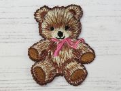 Teddy Bear Embroidered Iron On Motif Applique  Brown