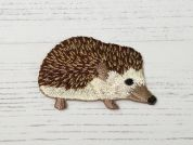 Hedgehog Embroidered Iron On Motif Applique  Brown