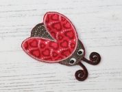 Ladybird Embroidered Iron On Motif Applique  Red