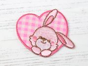 Bunny Heart Embroidered Iron On Motif Applique  Pink