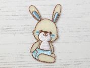 Baby Rabbit Embroidered Iron On Motif Applique  Cream & Blue