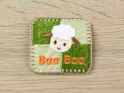 Baa Baa Sheep Head Embroidered Iron On Motif Applique  Green