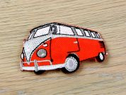 Camper Van Embroidered Iron On Motif Applique  Orange