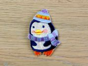 Penguin Embroidered Iron On Motif Applique  Multicoloured
