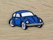 Car Embroidered Iron On Motif Applique  Blue