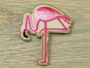 Flamingo Embroidered Iron On Motif Applique  Pink