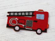 Fire Engine Embroidered Iron On Motif Applique  Red
