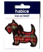 Tartan Dog Patch Motif  Red