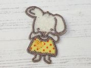 Rabbit Embroidered Iron On Motif Applique  Lemon