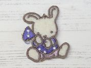 Rabbit Embroidered Iron On Motif Applique  Blue