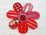 Flower Embroidered Iron On Motif Applique  Red