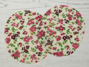 Floral Print Iron On Oval Patches  Multicoloured