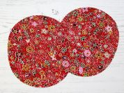 Floral Print Iron On Oval Patches  Red
