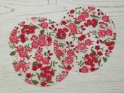 Floral Print Iron On Oval Patches  Pink