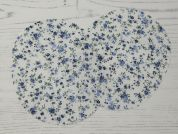 Floral Print Iron On Oval Patches  Blue