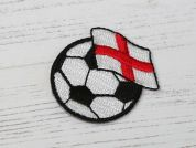 Football Flag Embroidered Iron On Motif Applique  Black & White
