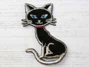 Cat Embroidered Iron On Motif Applique  Black & Silver