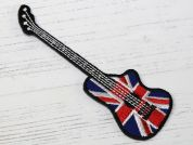 Union Jack Guitar Embroidered Iron On Motif Applique  Red & Blue
