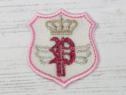 Princess Badge Embroidered Iron On Motif Applique  Pink