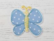 Polka Dot Butterfly Embroidered Iron On Motif Applique  Blue