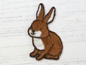 Rabbit Embroidered Iron On Motif Applique  Brown