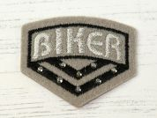 Biker Badge Embroidered Iron On Motif Applique  Grey