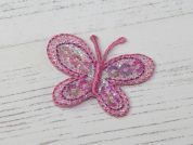 Sequin Butterfly Embroidered Iron On Motif Applique  Pink