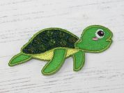 Turtle Embroidered Iron On Motif Applique  Green