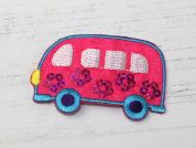 Camper Van Embroidered Iron On Motif Applique  Pink