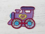 Sequin Train Embroidered Iron On Motif Applique  Multicoloured