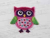 Owl Embroidered Iron On Motif Applique  Pink