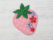 Strawberry Embroidered Iron On Motif Applique  Pink