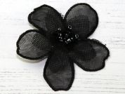 Layered Flower Iron On Motif Applique  Black