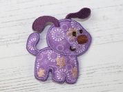 Dog Embroidered Iron On Motif Applique  Lilac