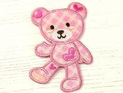 Teddy Embroidered Iron On Motif Applique  Pink