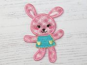 Bunny Embroidered Iron On Motif Applique  Pink