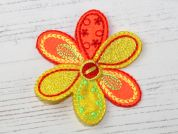 Flower Embroidered Iron On Motif Applique  Yellow & Orange