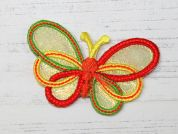 Butterfly Embroidered Iron On Motif Applique  Multicoloured