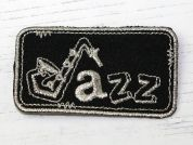 Jazz Music Embroidered Iron On Motif Applique  Black & Silver