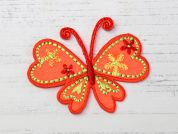 Butterfly Embroidered Iron On Motif Applique  Flo Orange