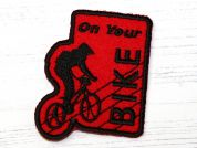 On Your Bike Embroidered Iron On Motif Applique  Red