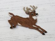 Stag Embroidered Iron On Motif Applique  Brown
